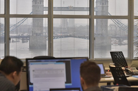 Corporate office photography with a view of Tower Bridge London