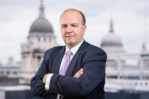 Business portrait photography with superimposed London background