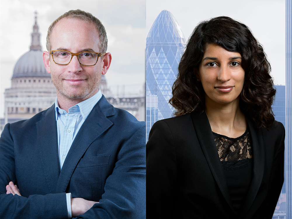 corporate headshot with added London City view