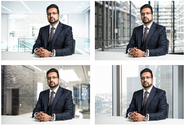 Selection of corporate headshots with different London office background