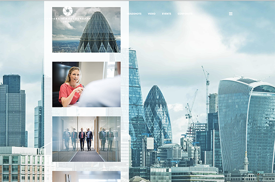 Design layout for corporate photography London website page