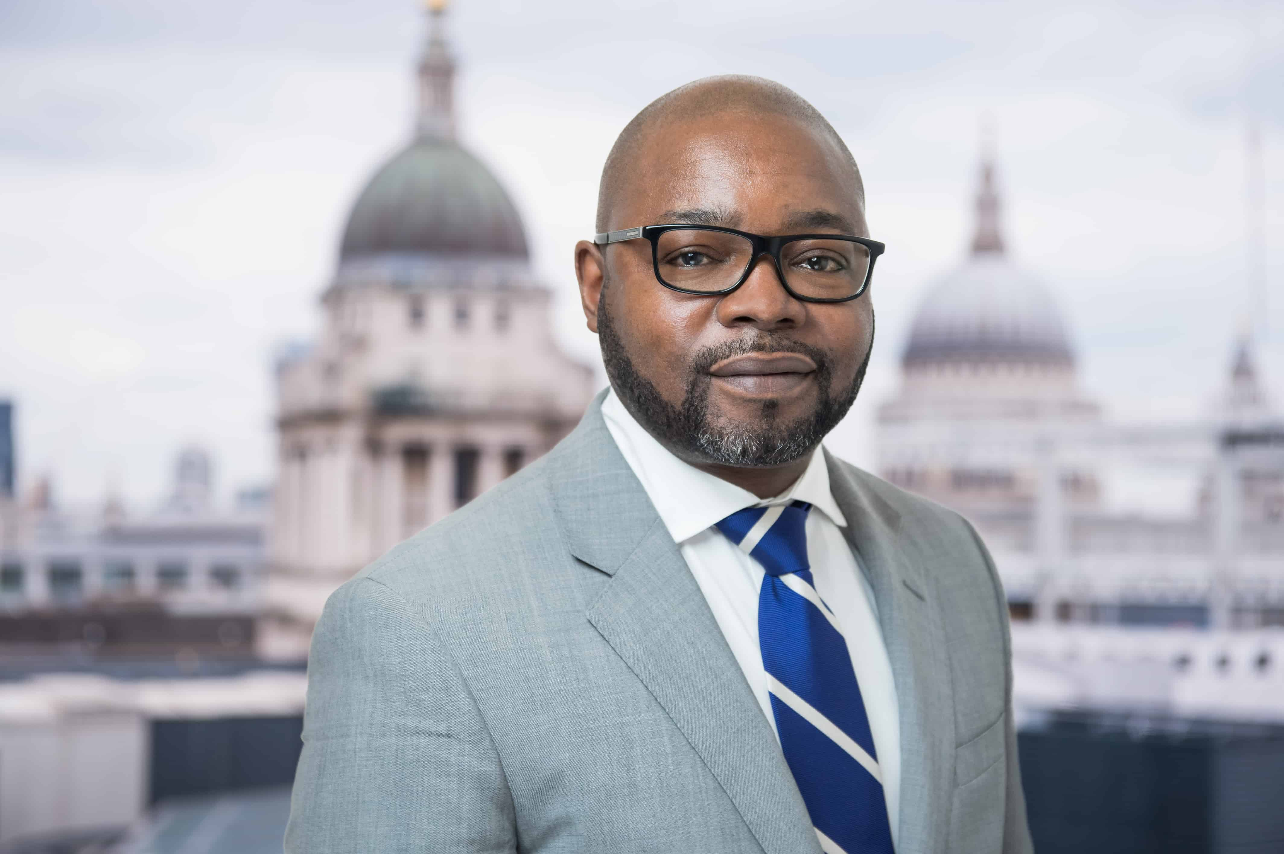 Headshot of businessman with views of St Paul's as a backdrop. London UK.