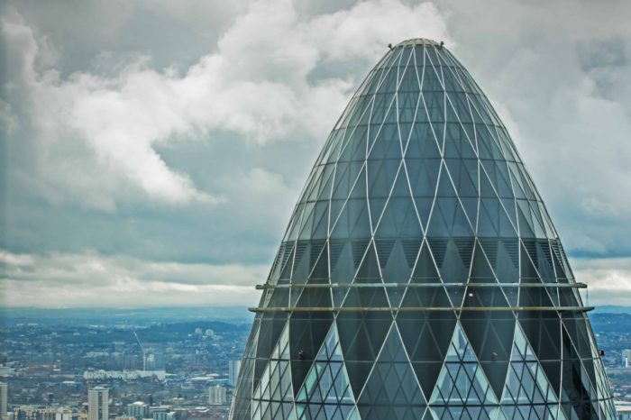Photograph of the City with a view of the Gherkin in corporate London.